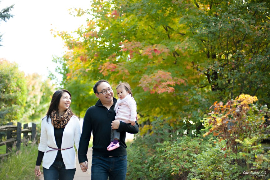 Christopher Luk 2014 - The C Family Baby Toddler Girl Lifestyle Session - Toronto Wedding Event Photographer - Mother Father Mom Dad Daughter Toddler Baby Girl Walking Smiling Autumn Fall Leaves Photojournalistic Candid Natural Relaxed
