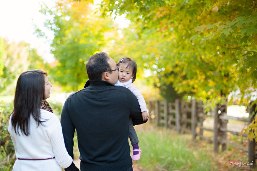 Christopher Luk 2014 - The C Family Baby Toddler Girl Lifestyle Session - Toronto Wedding Event Photographer - Mother Father Mom Dad Daughter Toddler Baby Girl Walking Smiling Autumn Fall Leaves Photojournalistic Candid Natural Relaxed Kiss