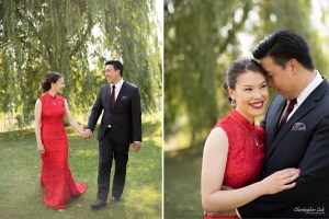 Christopher Luk 2015 - Vannessa and Daniel's Brampton Summer Outdoor Backyard Tea Ceremony Family Wedding Engagement Party Celebration - Bride Groom Navy Blue Suit Asian Red Dress Creative Relaxed Natural Portraits Walking Hug Smile