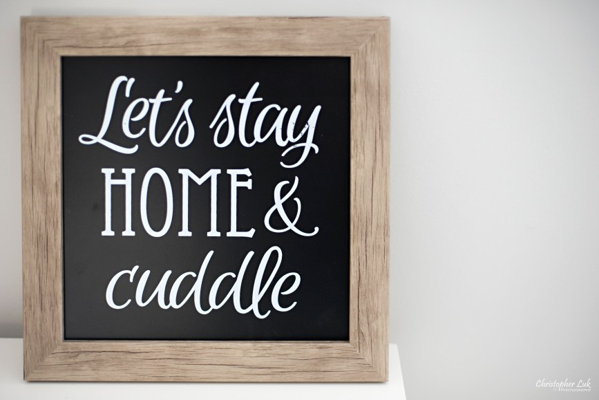 Let's Stay Home and Cuddle Black Chalkboard Home Decor Quote Calligraphy Sign