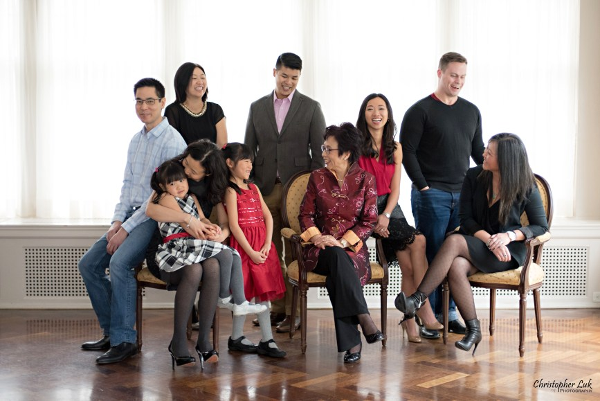 Toronto Markham Family Children Photographer - Grandmother Grandma Mom Mother Daughters Sons Husband Wife Grey Black Red Smile Korean Drama Laugh Candid