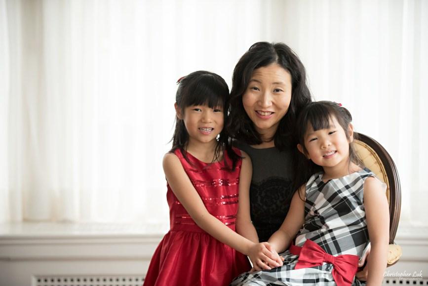 Toronto Markham Family Children Photographer - Mom Daughters Girls Red White Grey Black Dress Smile Hug Holding Hands