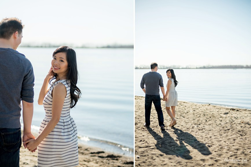 Christopher Luk Toronto Wedding Portrait Event Photographer Cherry Beach Spring Outdoor Park Engagement Session Bride Groom Natural Candid Photojournalistic Walk Shadow Sand Smile