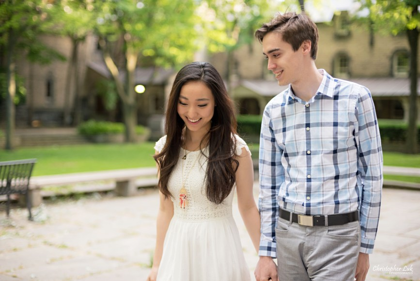 Christopher Luk (Toronto Wedding, Lifestyle & Event Photographer): Cindy and Matthew's University of Toronto Downtown Engagement Session - Bride Groom Natural Candid Photojournalistic University College Garden Quad Walking