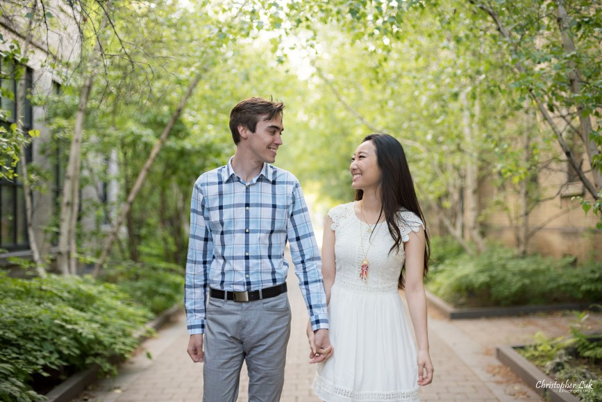 Christopher Luk (Toronto Wedding, Lifestyle & Event Photographer): Cindy and Matthew's University of Toronto Downtown Engagement Session - Bride Groom Natural Candid Photojournalistic King's College Circle Walking Smile