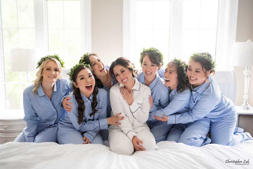 Christopher Luk (Toronto Wedding Photographer): Berkeley Church Vintage Rustic Ceremony Candlelight Dinner Reception Pinterest Worthy Details Candid Natural Photojournalistic Bride Bridesmaids Sisters Family Friends Princess Bed Matching Pyjamas Pajamas Robes Floral Wreath Crowns
