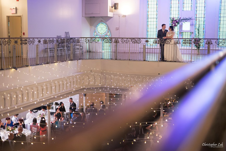 Christopher Luk (Toronto Wedding Photographer): Berkeley Church Vintage Rustic Ceremony Candlelight Dinner Reception Pinterest Worthy Details Candid Natural Photojournalistic Bride Groom Balcony Mezzanine Staircase Railing Banister Wide