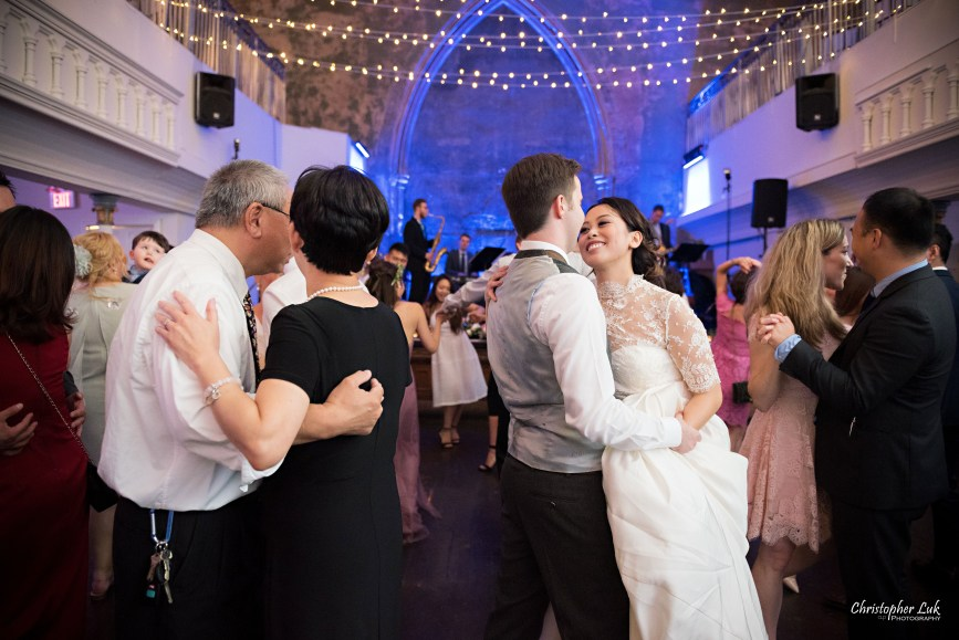 Christopher Luk (Toronto Wedding Photographer): Berkeley Church Vintage Rustic Ceremony Candlelight Dinner Reception Pinterest Worthy Details Candid Natural Photojournalistic First Dance Floor Bride Groom Dancing with Guests Couples