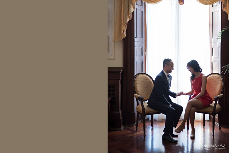 Christopher Luk (Toronto Wedding Photographer): Winter Indoor Engagement Session PreWedding Pictures Heintzman House Photos Markham York Region Natural Candid Photojournalistic Bride Groom Seated Chairs Holding Hands Silhouette