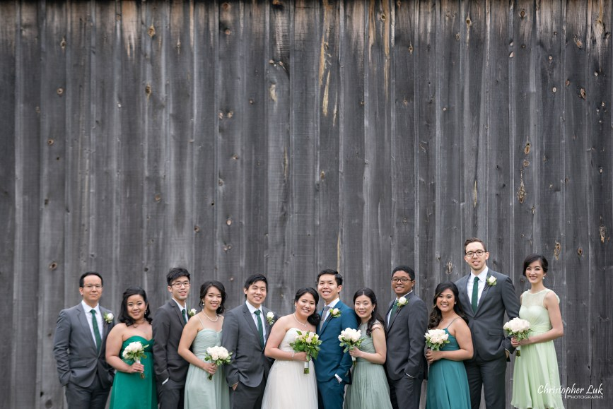 Christopher Luk: Toronto Wedding Photographer: Markham Museum Scarborough Chinese Baptist Church SCBC Columbus Event Centre Sala Caboto Natural Candid Photojournalistic Bride Groom Bridesmaids Groomsmen Bridal Party Creative Portrait Old Farm Barn Wooden Pallet Wall Smile