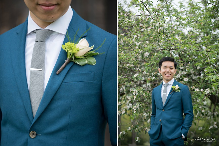 Christopher Luk: Toronto Wedding Photographer: Markham Museum Scarborough Chinese Baptist Church SCBC Columbus Event Centre Sala Caboto Natural Candid Photojournalistic Groom Portrait Floral Boutonnière Detail