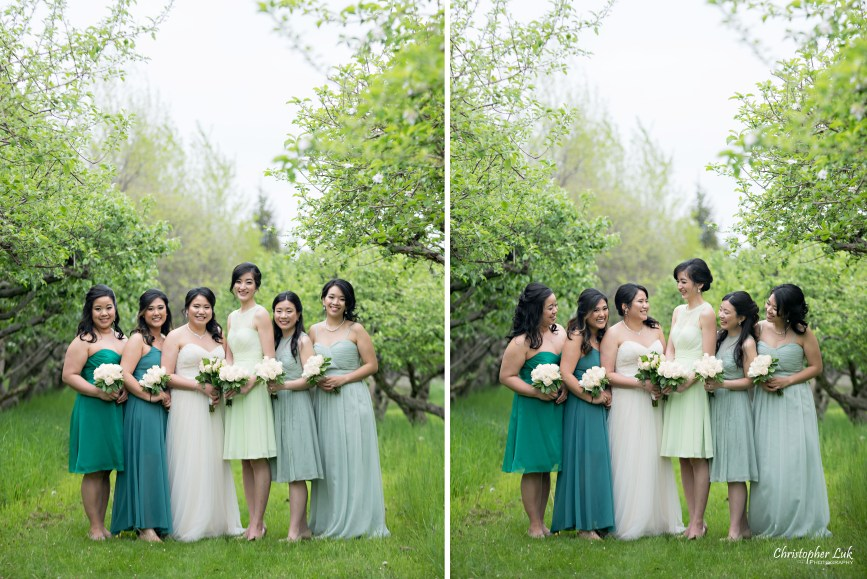 Christopher Luk: Toronto Wedding Photographer: Markham Museum Scarborough Chinese Baptist Church SCBC Columbus Event Centre Sala Caboto Natural Candid Photojournalistic Bride Bridesmaids Creative Portrait Apple Orchard Trees Smile