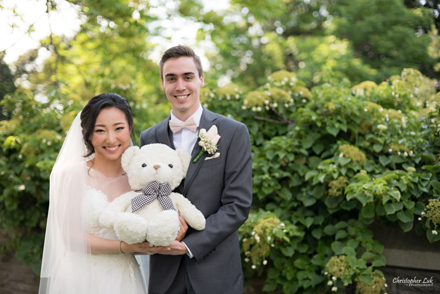 Christopher Luk Toronto Wedding Photographer - Casa Loma Conservatory Ceremony Creative Photo Session ByPeterAndPauls Paramount Event Venue Space Natural Candid Photojournalistic Bride Groom Castle Rear Garden Greenery Teddy Bear Stuffed Animal