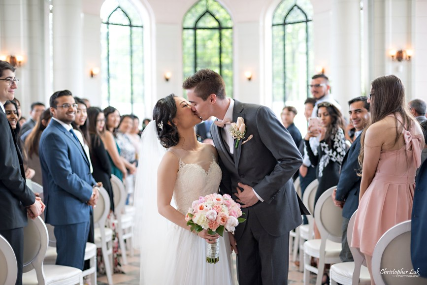 Christopher Luk Toronto Wedding Photographer - Casa Loma Conservatory Ceremony Creative Photo Session ByPeterAndPauls Paramount Event Venue Space Natural Candid Photojournalistic Castle Bride Groom Centre Aisle Kiss Recessional