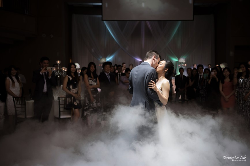 Christopher Luk Toronto Wedding Photographer - Casa Loma Conservatory Ceremony Creative Photo Session ByPeterAndPauls Paramount Event Venue Space Eastwood Room Bride Groom Natural Candid Photojournalistic First Dance Guests Dance Floor Dry Ice Machine Fog Cloud Close Kiss