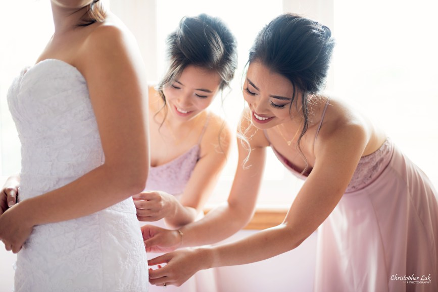 Christopher Luk - Toronto Wedding Photographer - Markham Home Private Residence Bride Alfred Angelo from Joanna's Bridal Natural Candid Photojournalistic Creative Curtains Portrait Bridesmaids Getting Ready Bridesmaid Maid of Honour MOH