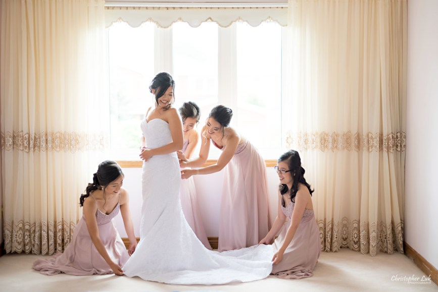 Christopher Luk - Toronto Wedding Photographer - Markham Home Private Residence Bride Alfred Angelo from Joanna's Bridal Natural Candid Photojournalistic Creative Curtains Portrait Bridesmaids Getting Ready Wide