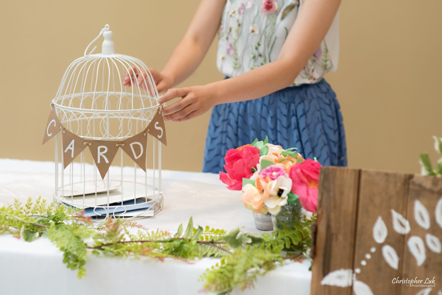 Christopher Luk - Toronto Wedding Photographer - Markham Chinese Baptist Church MCBC Christian Ceremony - Natural Candid Photojournalistic Sign In Reception Table Decor Gifts Bird Cage Cards