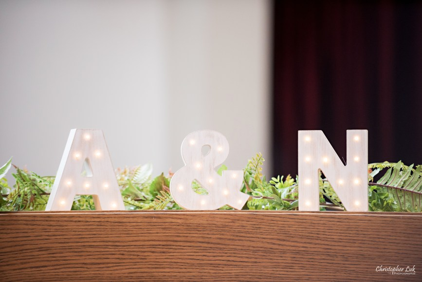 Christopher Luk - Toronto Wedding Photographer - Markham Chinese Baptist Church MCBC Christian Ceremony - Natural Candid Photojournalistic Bride Groom Marquee Lights Initials Ampersand Letters