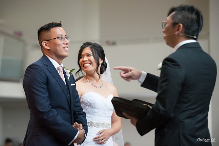 Christopher Luk - Toronto Wedding Photographer - Markham Chinese Baptist Church MCBC Christian Ceremony - Natural Candid Photojournalistic Bride Groom Exhortation Message Pastor Officiant Homily Reaction Laugh