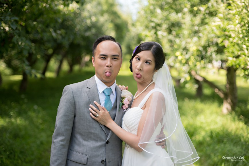 Christopher Luk - Toronto Wedding Lifestyle Event Photographer - Photojournalistic Natural Candid Markham Museum Creative Portrait Session Bride Groom Apple Orchard Funny Faces