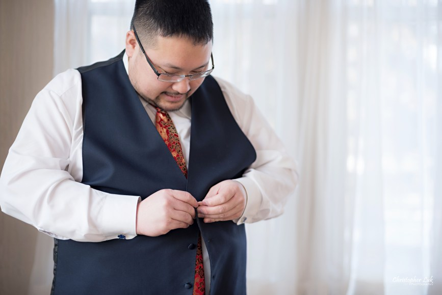 Toronto Wedding Photographer Heintzman House Winter Wedding Historic Estate Event Venue Groom Getting Ready Chinese Red Tie Navy Blue Waistcoat Vest