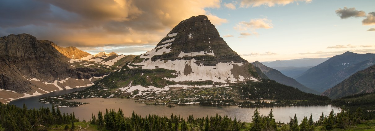 Bearhat Mountain looms over Hidden Lake at Logan Pass in Glacier National Park, Montana