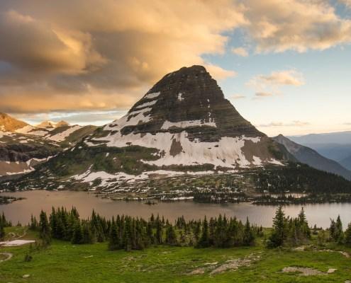 Bearhat Mountain looms over Hidden Lake at Logan Pass in Glacier National Park, Montana