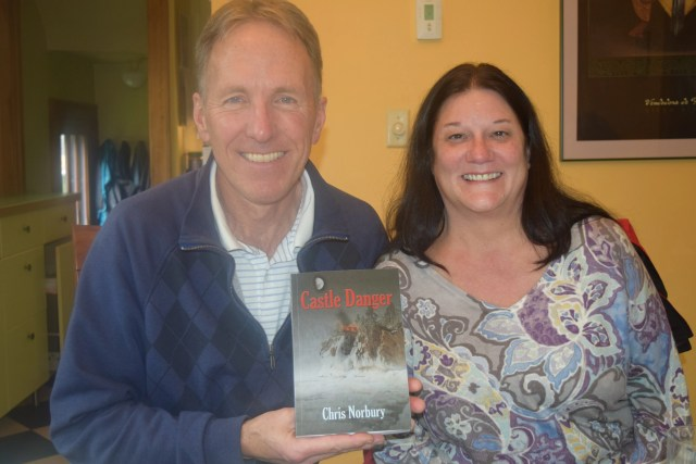 Sister-in-law Kay with her signed copy of Castle Danger