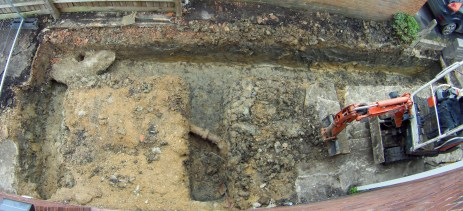 Aerial view of the holes. The pipe is only the downpipe for the guttering.