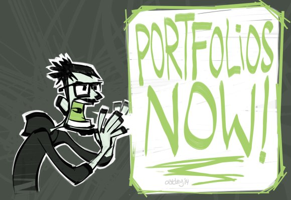 "Cartoon Chris Oatley screaming ""Portfolios Now!"""