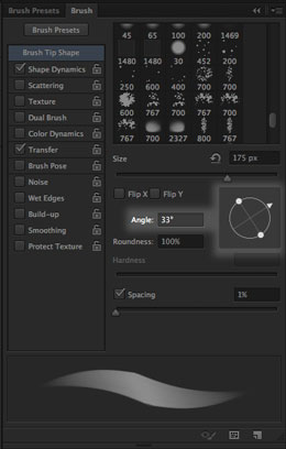 The Brush Tip Angle Control in Photoshop