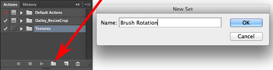 Create a new Action Set which eventually will contain all of your rotation brushes.