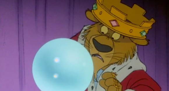Prince John, incredulous, stares into Little John's fake crystal ball in this scene from Disney's Robin Hood.