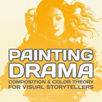 "Promotional art for Chris Oatley's Color & Composition course called ""Painting Drama."" A posterized illustration in pale orange and yellow of Botticelli's Venus in a vintage astronaut suit."