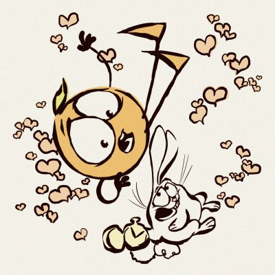 An anthropomorphic orange and a white rabbit pointing at a pocket watch are falling down an invisible hole. They are surrounded by floating hearts. Art by Chris Oatley.