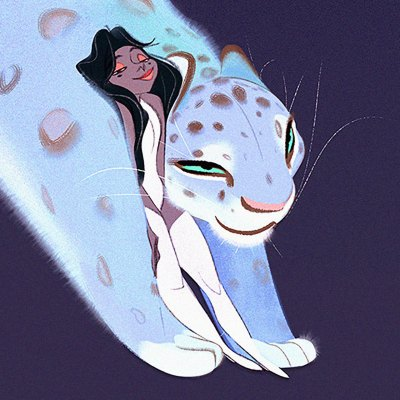 "Detail image of a pair of James Woods Character Designs. A dark-haired woman in white, minimalist-diva attire snuggles up to the shoulder of a huge jaguar with pastel-blue fur. The two are drawn with undulating ""S"" curves so complementary, they almost merge together."