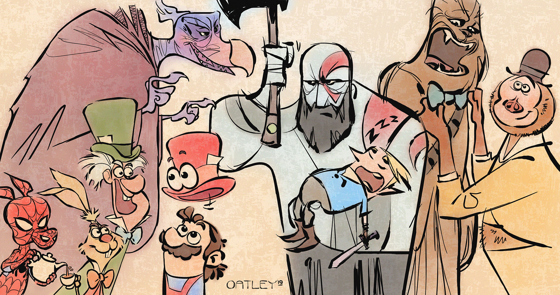 A cartoony, fan-art-mash-up drawn in gloppy, black ink lines and colored in soft, pastel hues, features characters from each of our 'Best New Concept Art Books' review. Kratos cradles a sleeping Link while fending off a hungry Skeksis. Cappy floats above Mario's head, transforming into The Mad Hatter's hat while the March Hare looks on, impressed. Spider-Ham pours the tea while Mr. Link lends his signature bowtie to Chewbacca.
