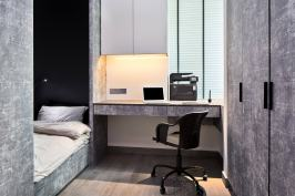Interior design photography showing boys room with computer and desk at simei rise condo in singapore