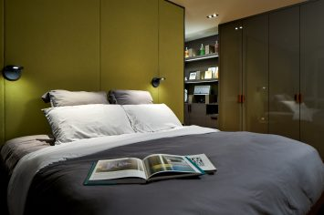 Interior design photography showing bedroom with bed and closets at simei rise condo in singapore