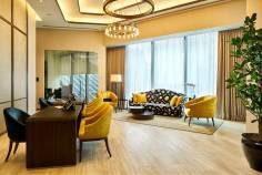 sky premium singapore main lobby with desks and lounge area