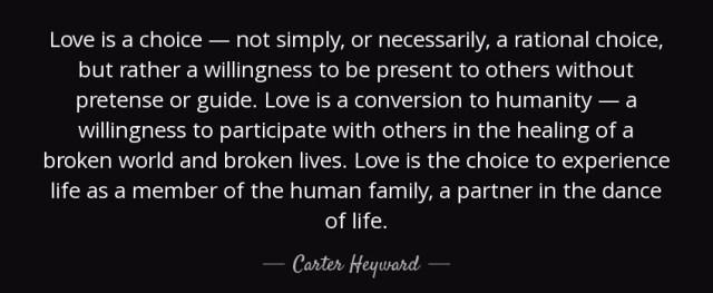 Love is a choice Carter Heyward