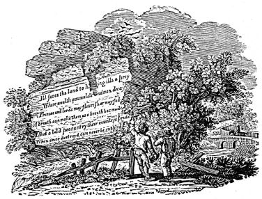 Thomas Bewick woodcut - Oliver Goldsmith poem