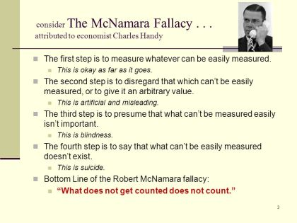 On Measurement - the McNamara Fallacy