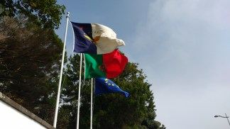 Azores, Portugal and EU flag