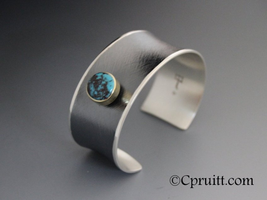 Anticlastic Bracelet with Bisbee turquoise and 18k Gold Bezel