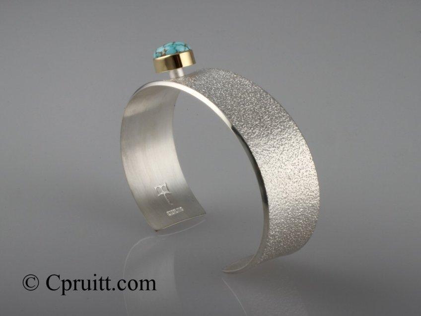 #8 Turquoise Bracelet. Sterling Silver 18k Bezel and Orange Peel Texture