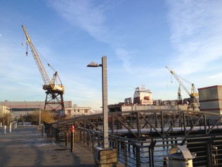 Looking east towards the functioning dry docks. Chris Slater photo.