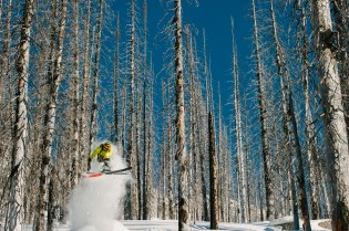 Powder popping off a donger near Whitewater,BC