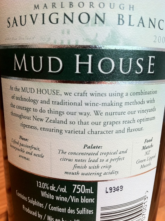 Mud House 2009 Sauvignon Blanc (back label)